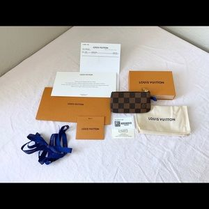 Louis Vuitton Key Cles Pouch Holder Damier Ebene